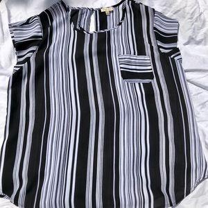 Lightweight sheer sleeveless, black/white stripes